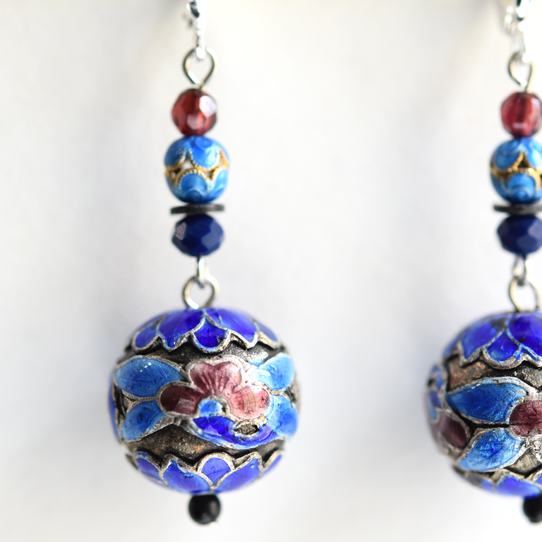 Beaded Blue Enamel Earrings - Goldmakers Fine Jewelry