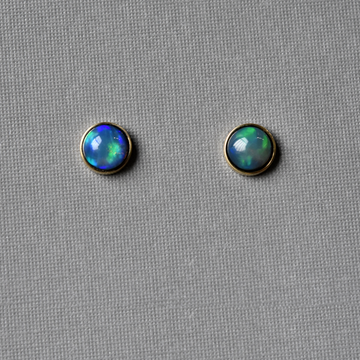 Ethiopian Opal Bezel Post Earrings in Gold - Goldmakers Fine Jewelry