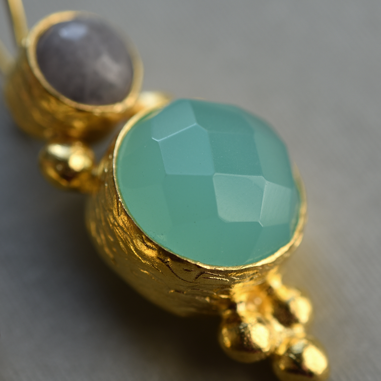 Aqua Chalcedony and Labradorite Earrings - Goldmakers Fine Jewelry
