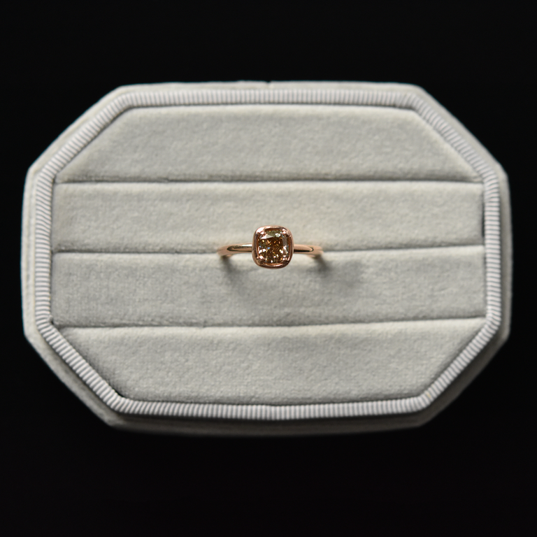 Champagne Diamond Rose Gold Engagement Ring - Goldmakers Fine Jewelry