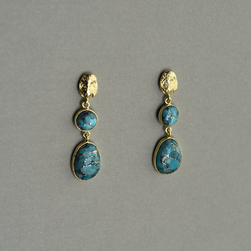 Turquoise Two Stone Drop Earrings - Goldmakers Fine Jewelry