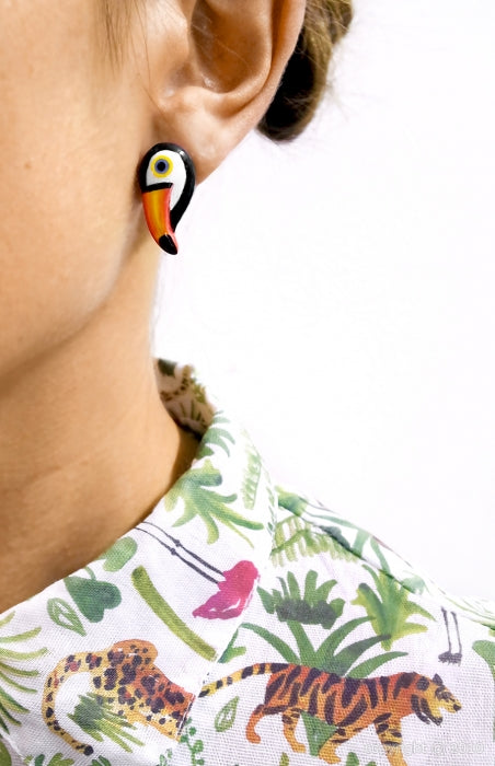 Toucan Post Earrings - Goldmakers Fine Jewelry