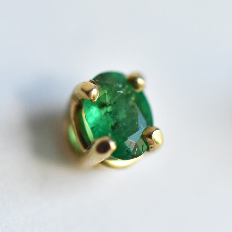 Gold and Emerald Post Earrings - Goldmakers Fine Jewelry