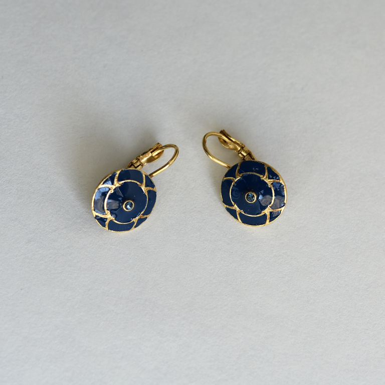 Enamel Earrings in Blue - Goldmakers Fine Jewelry