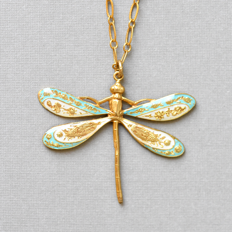 Enamel Dragonfly Necklace - Goldmakers Fine Jewelry