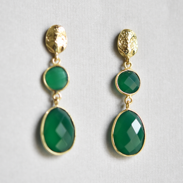 Green Onyx Drop Earrings - Goldmakers Fine Jewelry