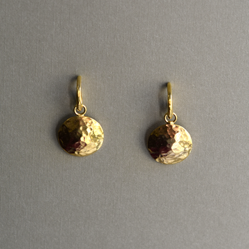 Fancy Hammered Disc Drop Earrings - Goldmakers Fine Jewelry