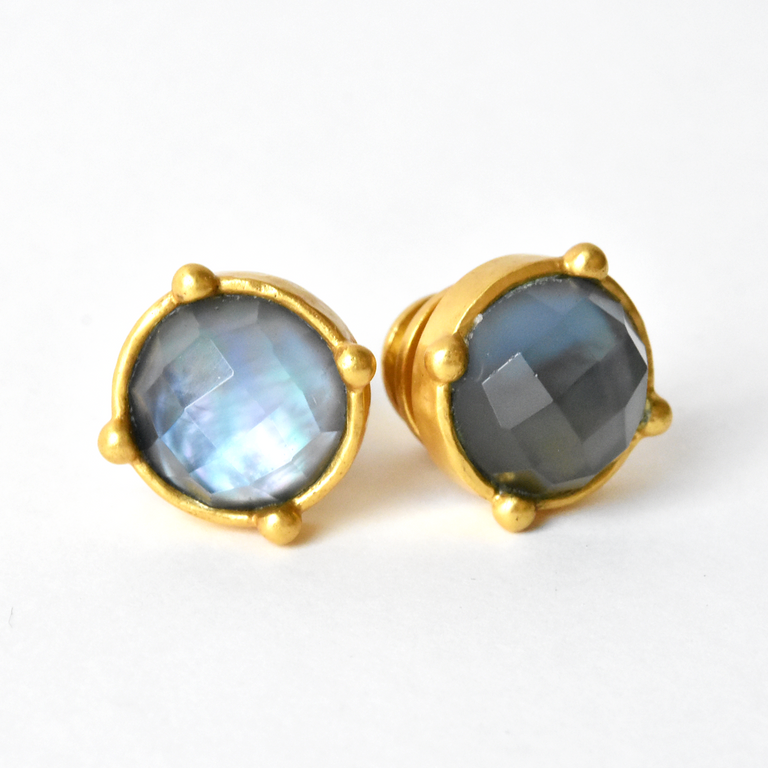 Honey Stud Iridescent Slate Blue - Goldmakers Fine Jewelry
