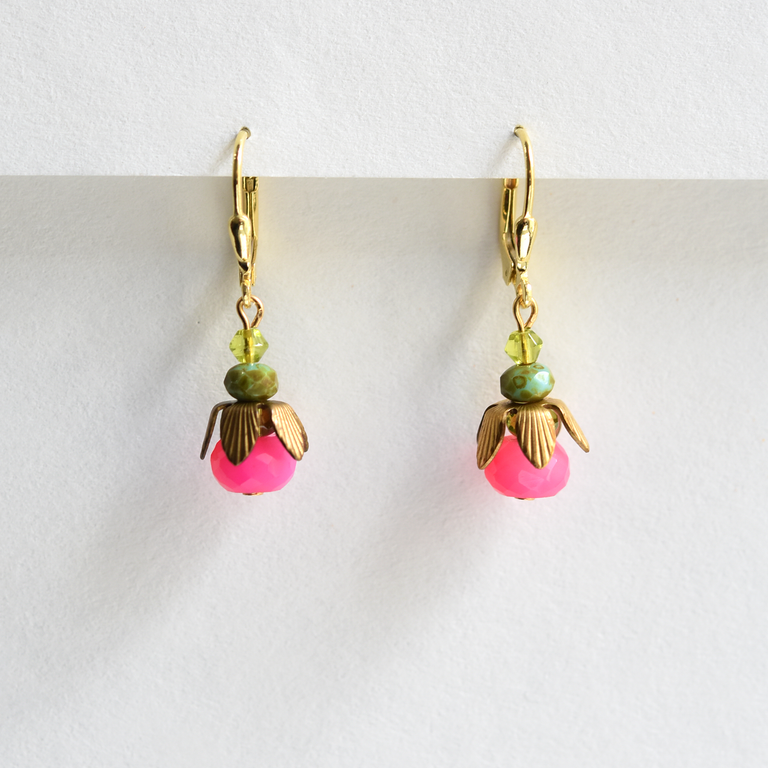 Hot Pink Drop Earrings - Goldmakers Fine Jewelry