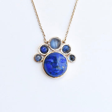 Lapis and Moonstone Luna Necklace in Gold