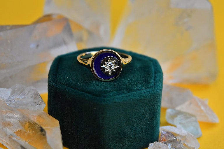 Stella Luna Gold Ring with Enamel - Goldmakers Fine Jewelry