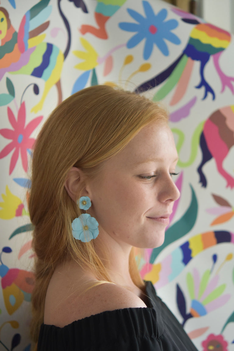 Sky Blue Floral Earrings - Goldmakers Fine Jewelry