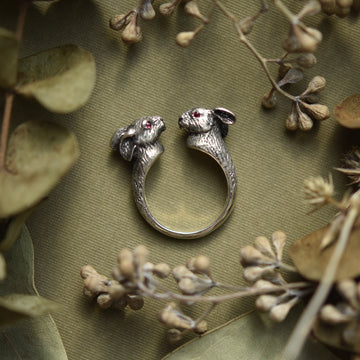 Lucky Rabbits Ring in Silver with Rubies - Goldmakers Fine Jewelry
