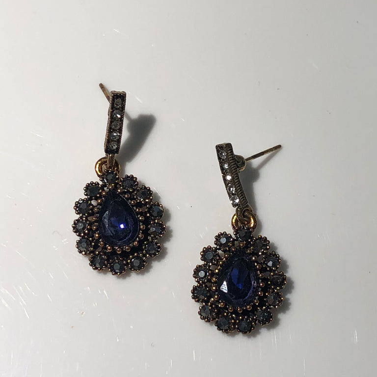 Turkish Princess Drop Earrings in Blue - Goldmakers Fine Jewelry