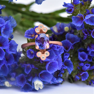 Orchid Sapphire and Diamond Engagement Ring in Rose Gold