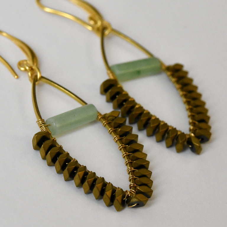 Jade and Hematite Earrings - Goldmakers Fine Jewelry