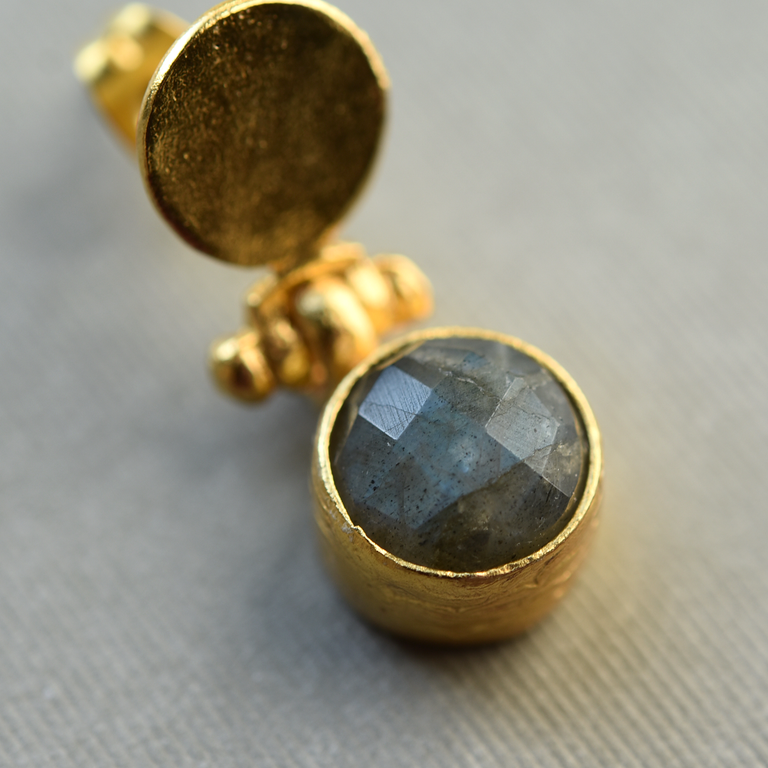 Labradorite Post Drops in Brass - Goldmakers Fine Jewelry