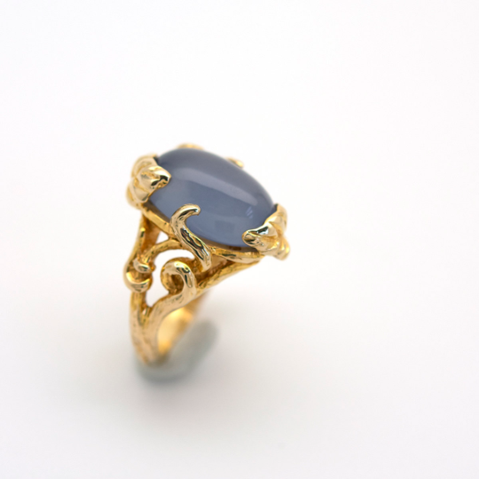 Moonwater Agate Cocktail Ring in Gold - Goldmakers Fine Jewelry