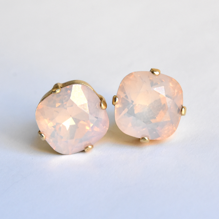 Aurora Borealis Studs in Pink - Goldmakers Fine Jewelry