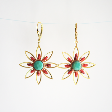 Flowers in Red Earrings - Goldmakers Fine Jewelry