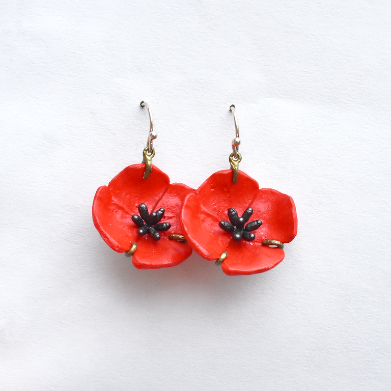Red Poppy French Wire Earrings - Goldmakers Fine Jewelry
