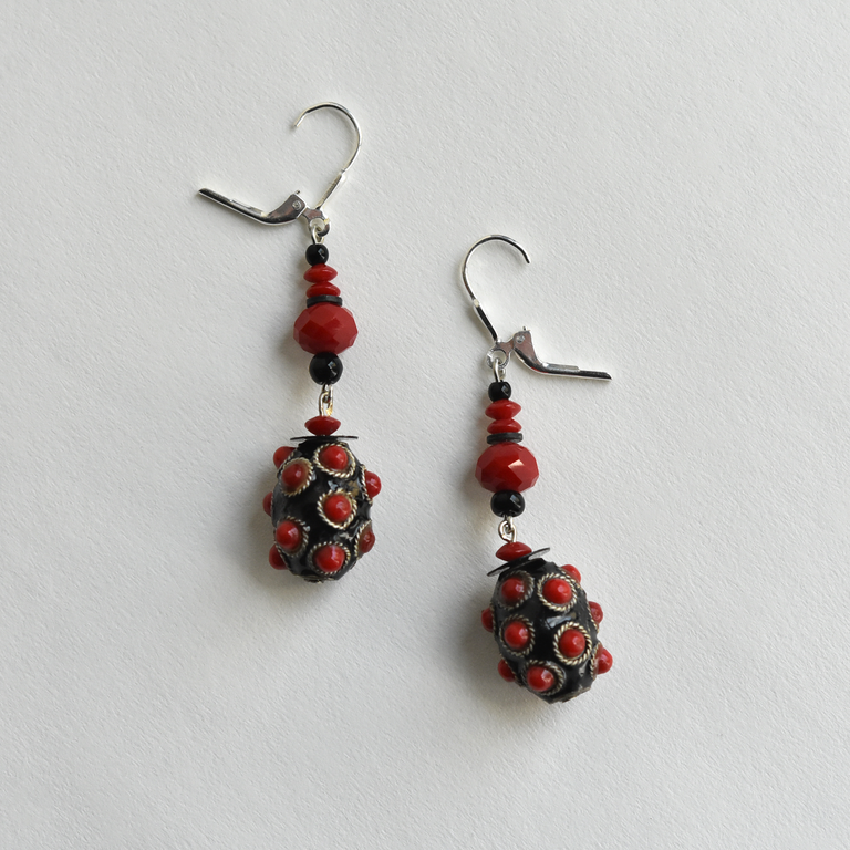Red Bobble Drops - Goldmakers Fine Jewelry