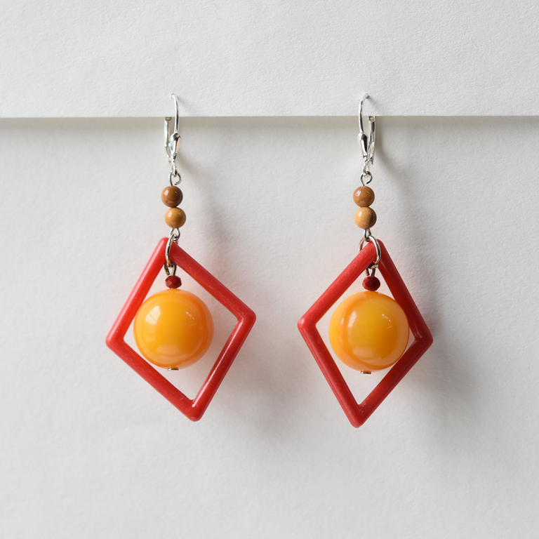 Red-Orange Art Glass Drops - Goldmakers Fine Jewelry
