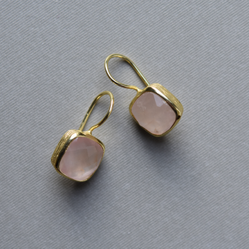 Bezel Set Rose Quartz Drop Earrings - Goldmakers Fine Jewelry