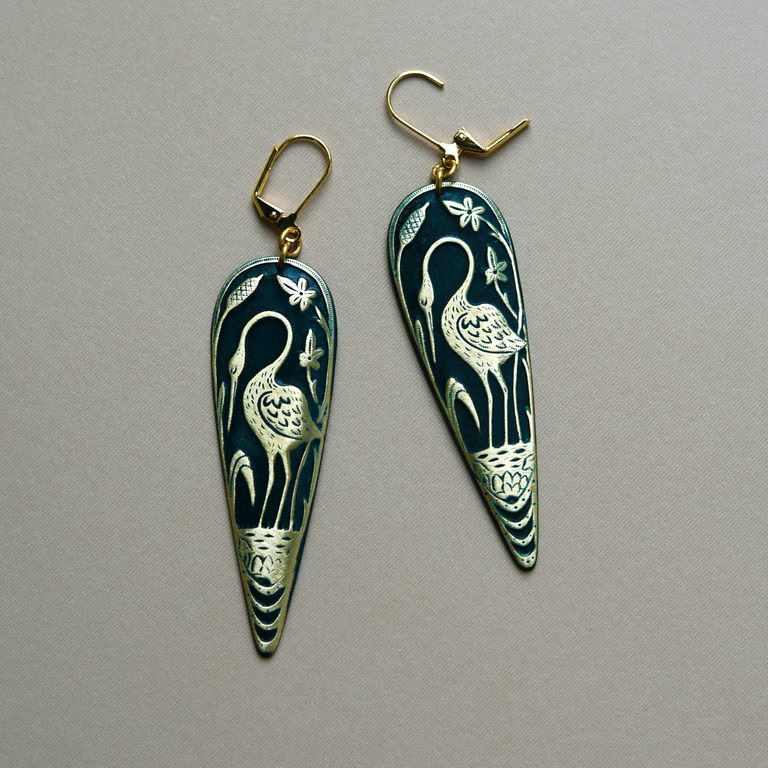 Teal Crane Earrings - Goldmakers Fine Jewelry