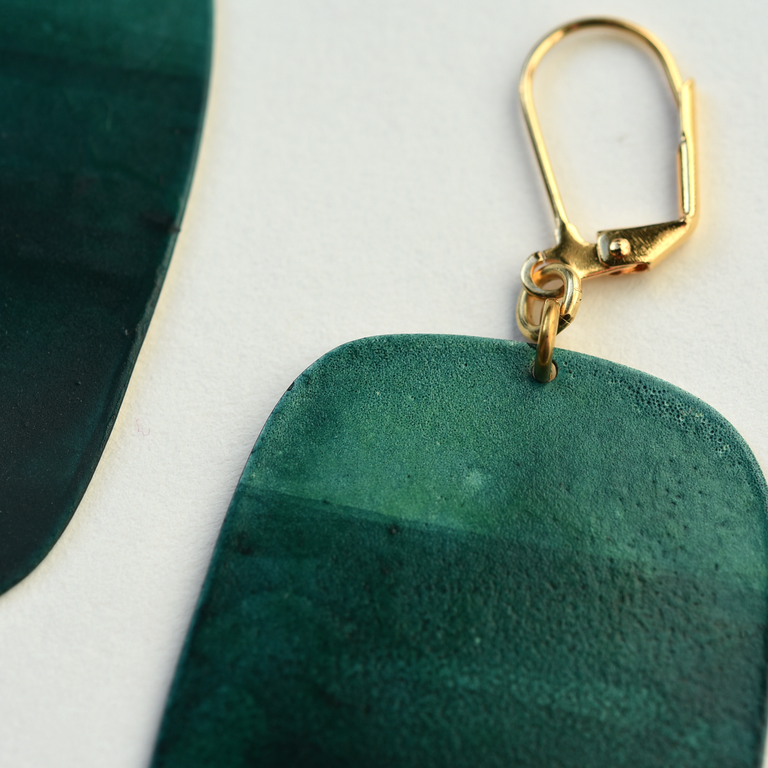 Teal Cubist Earrings - Goldmakers Fine Jewelry