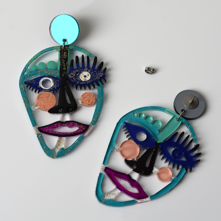 Turquoise and Blue Laser Cut Acrylic Face Earrings - Goldmakers Fine Jewelry