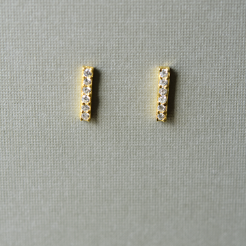 Crystal Encrusted Vermeil Bar Studs - Goldmakers Fine Jewelry