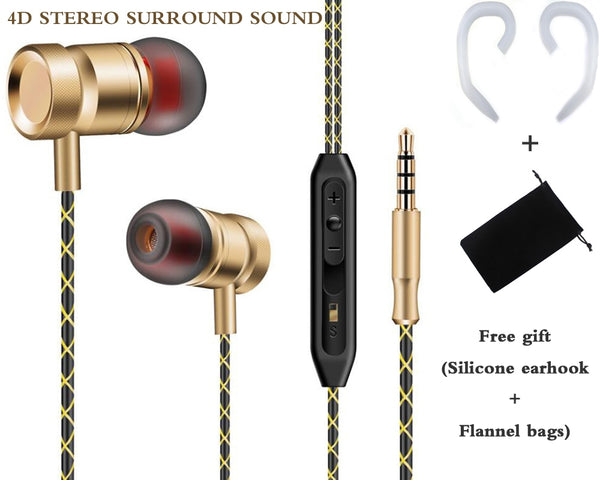 Wired earbuds with microphone for phone