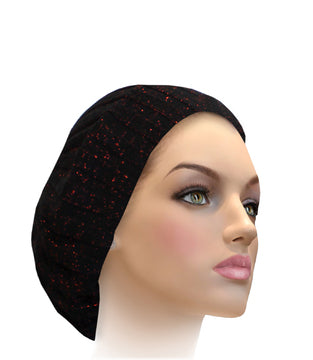 AH-H0002 Raised Ribbed Snood Black Burgundy