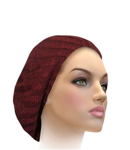 AH-H0002 Raised Ribbed Snood Burgundy