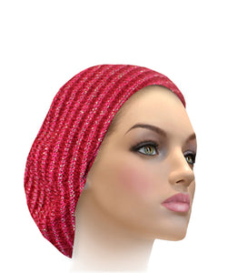 AH-H0011 Ribbed Chenille Beret Black lime