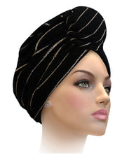 MTERHL Miami Terry Highlighted Turban Dazzling Blue With Gold Lurex