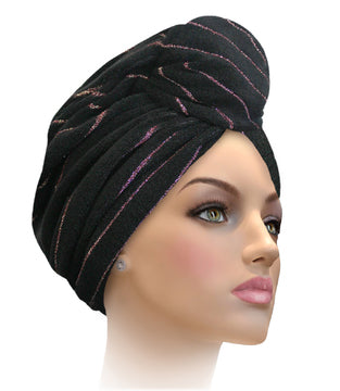 MTERHL Miami Terry Highlighted Turban Black With Hot Pink Lurex