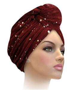 MTERGLX  Miami Terry Galaxy Turban Violet Orchid with Gold