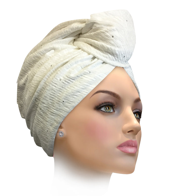 MESCAPTIVATING Miami Elegant White Captivating Turban