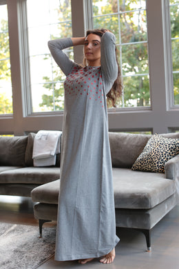 Geometric Shimmer Print Nightgown CHARCOAL CH6758
