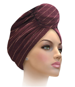 MTERHL Miami Terry Highlighted Turban Dark Plum