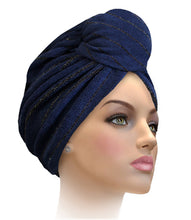 MTERHL Miami Terry Highlighted Turban Dusty Cedar With Rose Gold Lurex