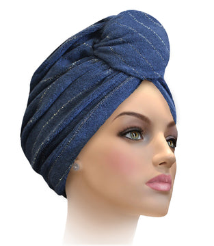 MTERHL Miami Terry Highlighted Turban Navy With Multi Lurex