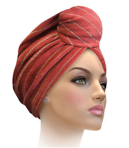 MTERHL Miami Terry Highlighted Turban Cranberry With Charcoal Lurex