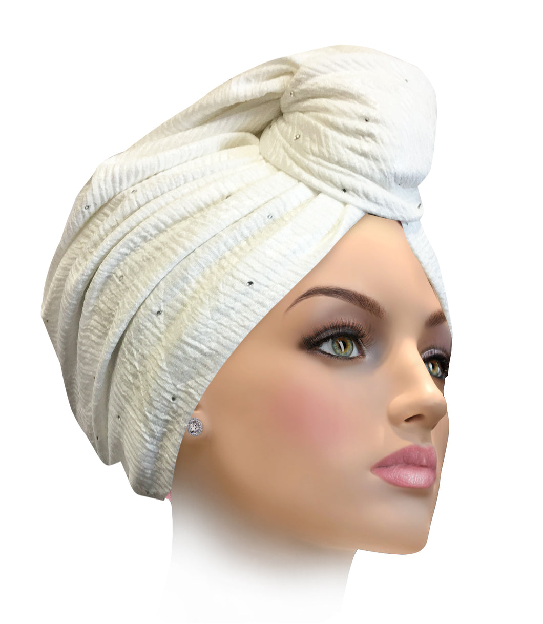 MESENCHANTING Miami Elegant White Enchanting Turban