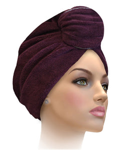 Miami Terry Trimmed Ruby Wine With Silver Turban
