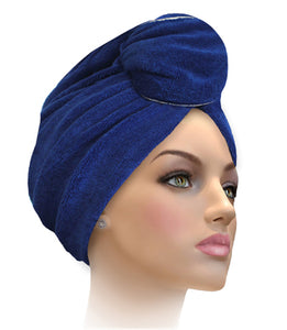 Miami Terry Trimmed Black With Gold Band Turban