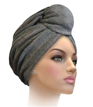 MTERHL Miami Terry Highlighted Turban Charcoal Grey With Gold Lurex