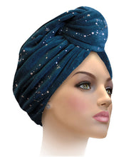 MTERGLX  Miami Terry Galaxy Turban Dazzling Blue with Gold